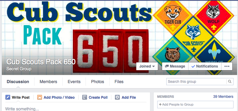 Pack 650 is on Facebook